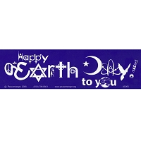S065 - Happy Earth Day SymbolGlyphs Large Bumper Sticker