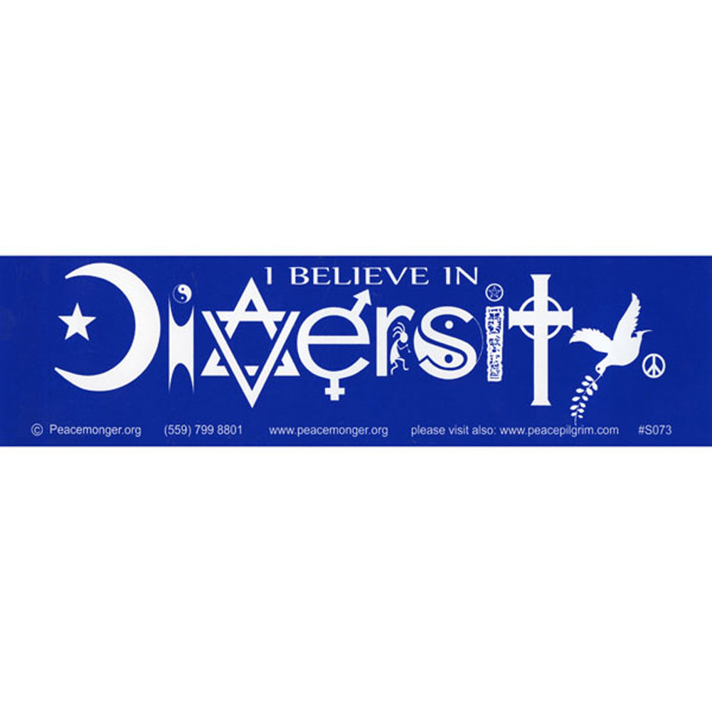 S073 I Believe In Diversity Bumper Sticker