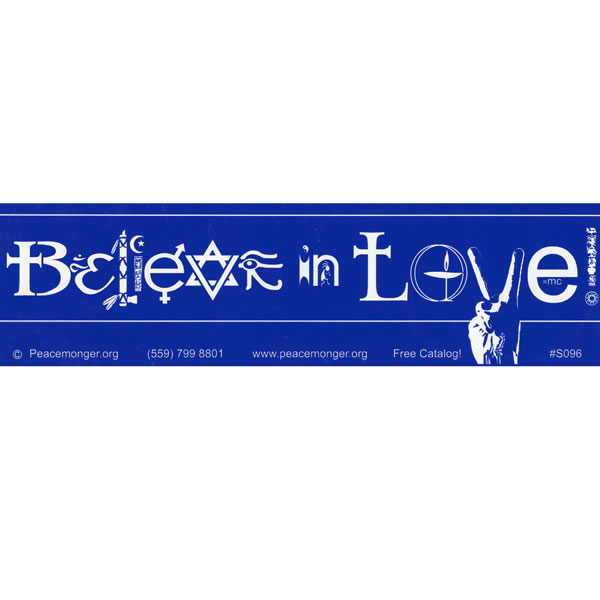 S096 believe in love bumper sticker