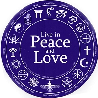 S098 - Live in Peace and Love Interfaith Bumper Sticker
