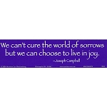S110 - We Can't cure the world of sorrows but we choose to love in joy Bumper Sticker