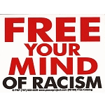 S127 - Free Your Mind Of Racism Large Bumper Sticker