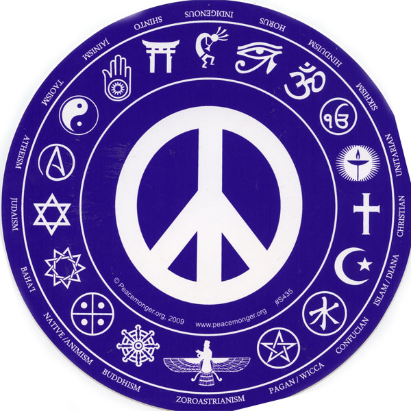 S435 interfaith peace round bumper sticker