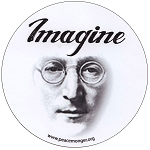 S460 - Imagine John Lennon Portrait Beatles Round Bumper Sticker