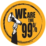 S461 - We ARE the 99% Megaphone Round Bumper Sticker