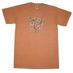 T052 Triple Gecko Aboriginal Art Tribal Lizard Clay Dyed Organic Cotton T-shirt