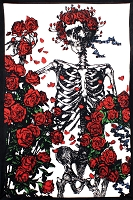TA34 - Grateful Dead Skeleton Rose Tapestry Bertha