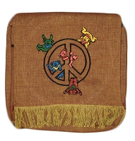 TB8 - Peace Bears Fringed Cotton Shoulder Bag