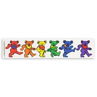A455 Grateful Dead Six Rainbow Dancing Bears Art Decal Window Sticker