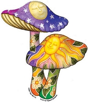 A460 Dan Morris Loving Mushrooms Twins Psychedelic  Sun Moon Celestial Color 5