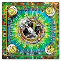 BD014 Jerry Jaspar's Laughing Jack Sun Moon Unique Tie Dye Art Print Grateful Dead Inspired Bandana