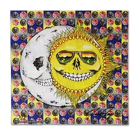 BP001 Grateful Hug Skeleton Sun Moon Jerry Jaspar Original Limited Edition Signed Numbered Blotter Paper Art Print