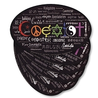 CS005-6Pack Coexist in 55 Languages Interfaith International Peace Decal Bumper Sticker Six Pack