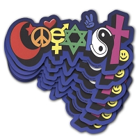 CS105-6Pack Coexist Street Art Graffiti Interfaith International Peace Rainbow Cut Out Decal Bumper Sticker Six Pack
