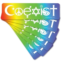 CS193-6Pack Coexist in a Rainbow Interfaith International Peace Decal Bumper Sticker Six Pack