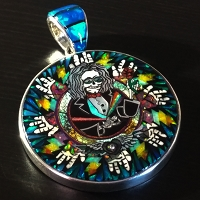 J900 Limited Edition Jerry Jaspar / David Freeland Gemstone Mosaic Laughing Jack Fundraiser Pendant