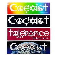 MP001-4MAG Coexist 3 Variations and Tolerance Believe In It Peacemonger Original Interfaith International Peace 4-Pack Magnet Set