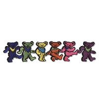 P087 Grateful Dead Rainbow Marching Dancing Bears Embroidered Iron On Patch