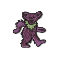 P087A Purple Grateful Dead Rainbow Marching Dancing Bear Embroidered Iron On Patch