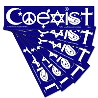 S001-6Pack COEXIST Original Interfaith International Mythology Religion Gender Equality Decal Bumper Sticker Six Pack