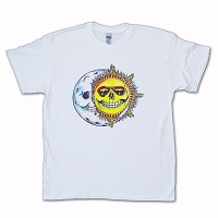 T122 White or Tie Dye Grateful Hug Skeleton Sun Moon Jerry Jaspar Grateful Dead Screen Print T-Shirt
