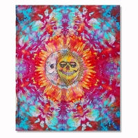 TA092 Tie Dye Grateful Hug Jerry Jaspar Skeleton Sun Moon Grateful Dead Psychedelic Unique Tapestry Signed and Dated