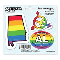 TS001 Tolerance States Alabama LGBT Gay Lesbian Bisexual Transgender Rights 3 Sticker Set