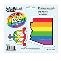 TS003 Tolerance States Arizona Pride LGBT Gay Lesbian Bisexual Transgender Rights 3 Sticker Set