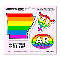 TS004 Tolerance States Arkansas Pride LGBT Gay Lesbian Bisexual Transgender Rights 3 Sticker Set