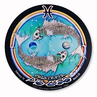 ZS002 Grateful Pisces Skeleton Fish Jerry Jaspar 4.5 Inch Zodiac Sticker