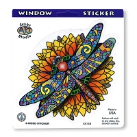 A038 Sticker Biz Stained Glass Dragonfly Art Decal Window Sticker