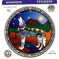 A050 - Stained Glass Wolf Art Decal Window Sticker