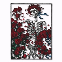 A055 Skeleton and Roses Original Woodcut Grateful Dead Art Decal Window Sticker