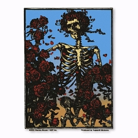 A064 Grateful Dead Skeleton and Roses Woodcut Bertha Stanley Mouse Sticker Decal