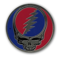 A067L Officially Licensed Brass Metal Grateful Dead Steal Your Face SYF 3.25 Inch Sticker