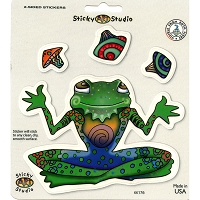A078 Sticker Biz Kathleen Kemmerling Mushroom Juggling Frog Double Sided Print Art Decal Window Sticker