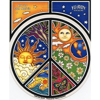 A101 Nature Peace Symbol Dan Morris Sun Moon Earth Art Decal Window Sticker