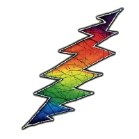 A109 Tina Carpenter Batik Grateful Dead Lightning Bolt Tie Dye Rainbow Art Decal Window Sticker