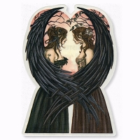 A193 Sisters Twin Angel Fairies Sensual Goddess Art Decal Window Sticker