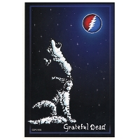 A347 - Grateful Dead Wolf Howling at the Moon Art Decal Window Sticker SYF Lightening Bolt