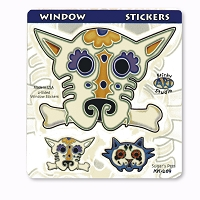 A388 Sugar Skulls Pets Day of the Dead Dog and Cat Art Decal Window Sticker