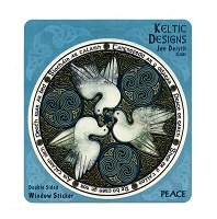 A400 - Celtic Peace Doves Triskle by Jen Delyth Art Decal Window Sticker