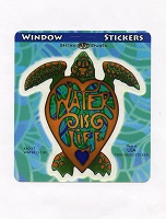 A410 - Water is Life Turtle Art Decal Window Sticker