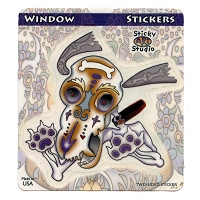 A417 - Mexican Folk Art Dog Skull with Bone for Brains Window Sticker Art Decal