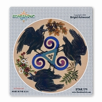 A430 Triple Spiral Ravens Brigid Ashwood Celtic Pagan Nature Sticker Decal