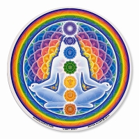 A434-MAG Rainbow Chakra Meditation Enlightened Lotus Mandala Magnetic Sticker