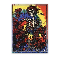 A572 Tie Dyed Grateful Dead Skeleton and Roses Woodcut Bertha Sticker Decal