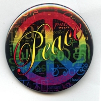 B449 - Peace Languages Word Cloud Button