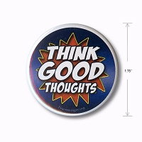 B531 Think Good Thoughts Comic Pow Zap Boom Design Pin Back Button