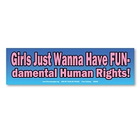 CM083-MAG Girls Just Wanna Have FUNdamental Fun Human Rights Mini Sticker MAGNET